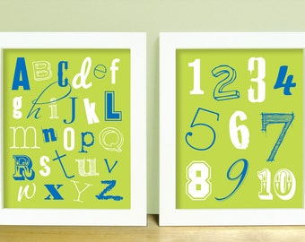 Baby Boy Nursery Wall Art - ABC Alphabet & 123 Numbers Baby Nursery Art Prints SET - Kids Room Wall Art - Lime Green and Blue Shown