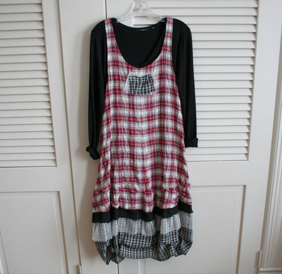 Reserved - BREATHE -  Summer Red Plaid Cotton Lagenlook Layering Tunic 4 tier Dress