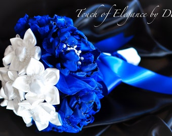 """9"""" Royal Blue and White Fabric Flower Bridal Bouquet"""
