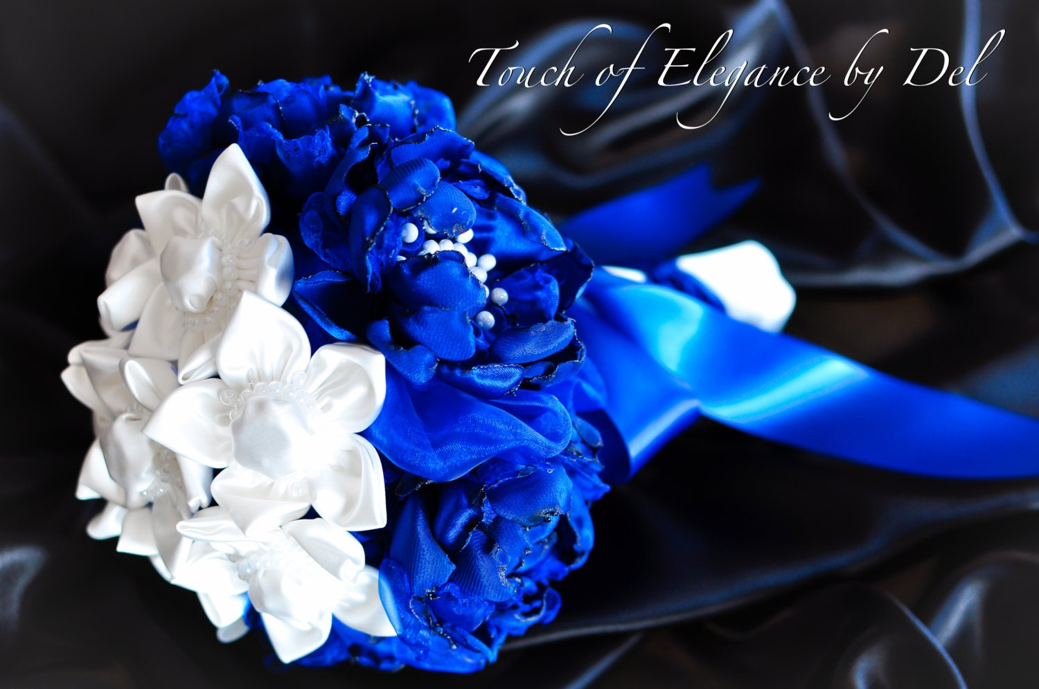 9 royal blue and white fabric flower bridal bouquet. Black Bedroom Furniture Sets. Home Design Ideas
