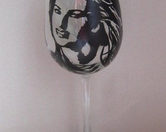 Hand Painted Wine Glass - SHANIA TWAIN - Country Pop Music Singer, Song Writer