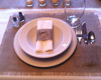 """Burlap Placemats 12"""" x 18""""  Qty (6) with silverware pocket"""