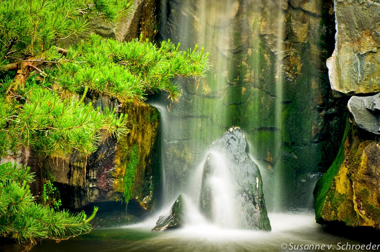 waterfall photography japanese garden fine art print zen. Black Bedroom Furniture Sets. Home Design Ideas