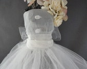 Wire Mannequin Bride with Organza and Tulle Dress with Bow in Back and Floral Headpiece