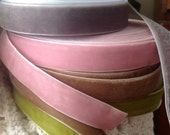 dusty pink or pewter or sweet pea green or latte velvet ribbon