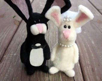 Bride and Groom Cake Topper Needle Felted Bunny --- Needle Felted Rabbit, Wedding Decoration, Bridal shower or Gift