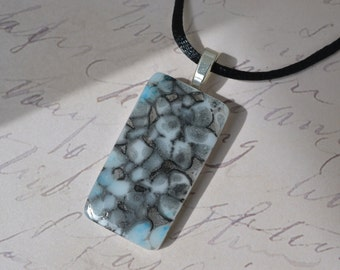 Blue Pendant - Black Pendant  -  FUSED GLASS JEWELRY - Glass jewelry - Necklace