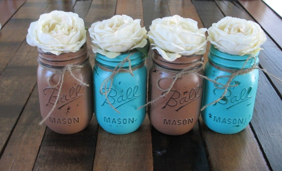 SALE!!! 4 Pint Mason Jars, Decorative Mason Jars, Teacher appreciation Gift, Coffee Table Home Decor, Turquoise and Brown Vases