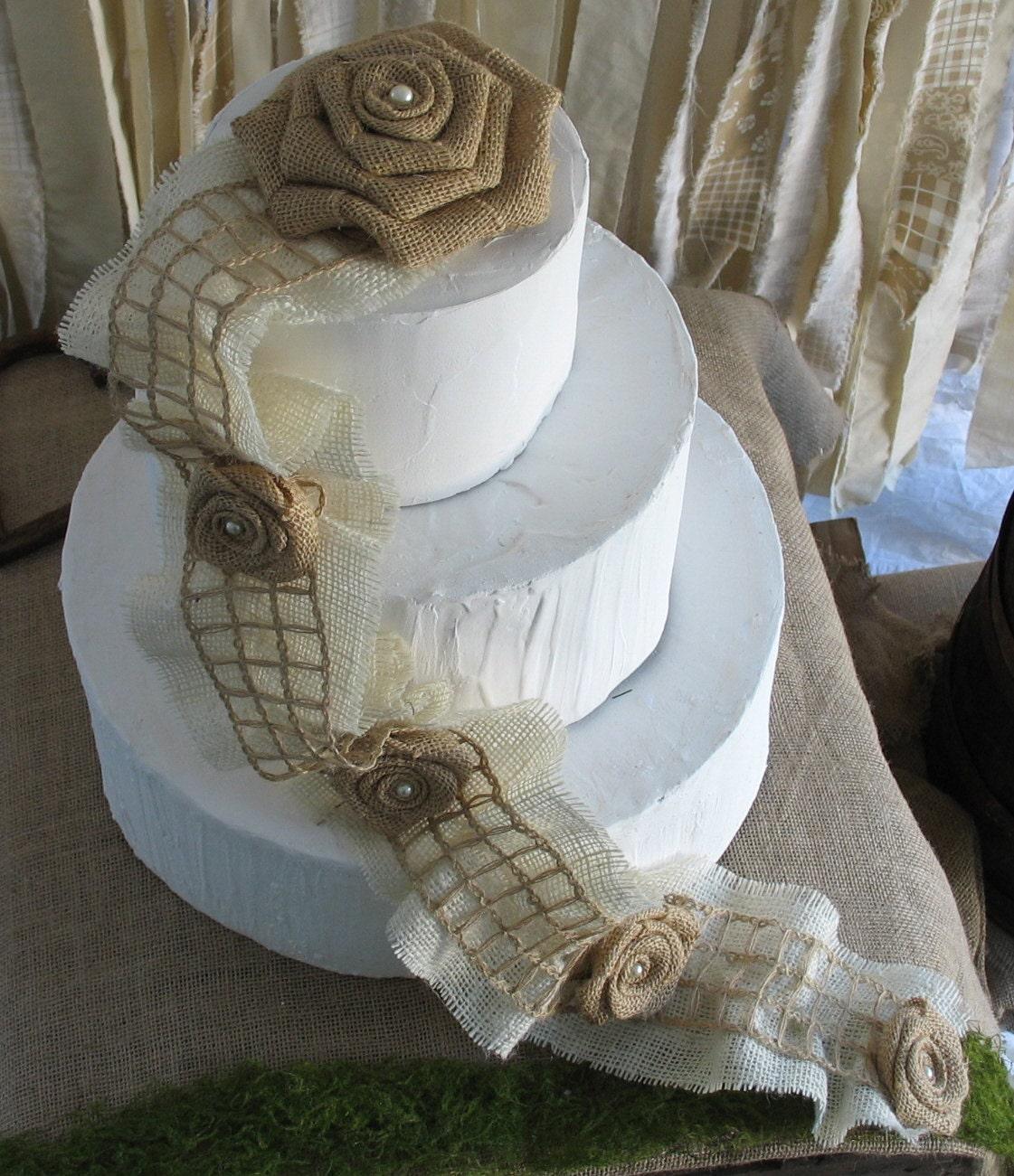 SALE Burlap Cake Topper Rustic Wedding Cake Decoration