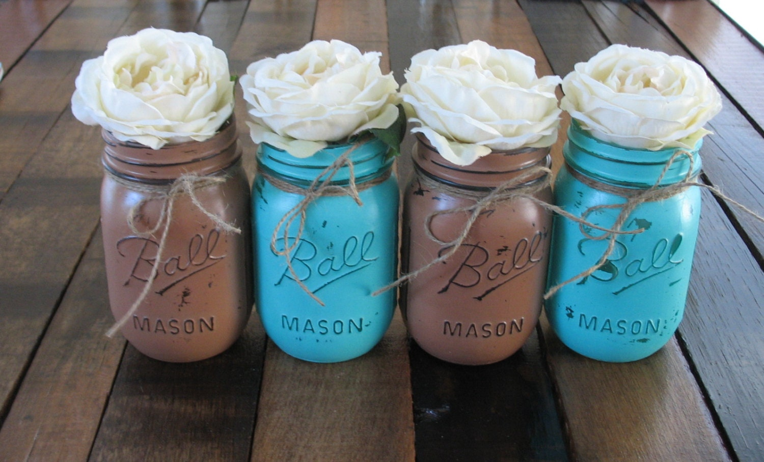 Brown And Teal Wedding Ideas: SALE 4 Pint Mason Jars Decorative Mason Jars Teacher