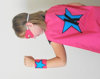 Girls Personalized Super Hero Cape and Mask