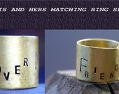 Sale- His and Hers Ring Set, Anniversary, Hand Stamped Ring, Personal Message, Wide Band Custom Fit Ring