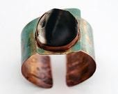 Verdigris Green Rocky Rugged Patina Statement Cuff Bracelet--His or Hers Bracelet, Men's/ Women's Bracelet