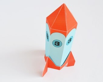 Printable Rocket Favor Box/ Gift Box from the Out of This World Party Collection by Paper Built