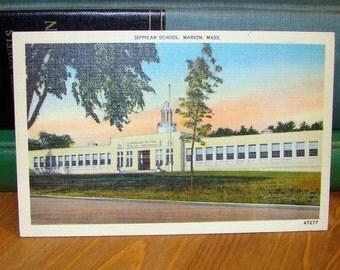 Vintage Postcard, Sippican School, Marion, Massachusetts 1940s Linen Paper Ephemera