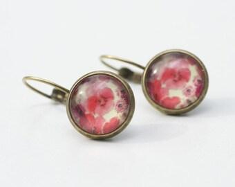 """Bronze hoop earrings """"red flower rain"""""""