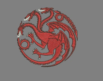Machine Embroidery Design Instant Download - Dragon (Three-Headed) Game of Thrones Targaryen Sigil