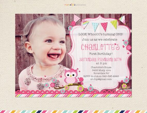 look who's turning one owl birthday invitation first, Birthday invitations