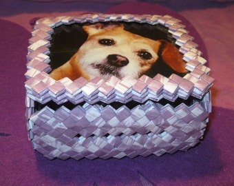 WHITE and LAVENDER TINKET Box with Dog
