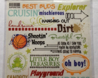 Fancy Pants Boy Phrases Expressions Scrapbook Rub Ons