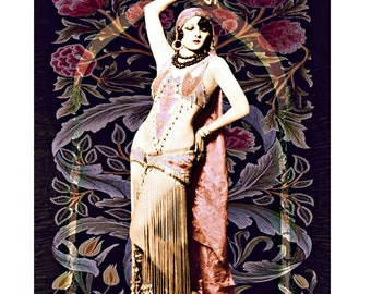 Vintage belly dancer, digital print, photomontage, vintage burlesque, 1920 s vintage print, art deco print, fine art print, burlesque print
