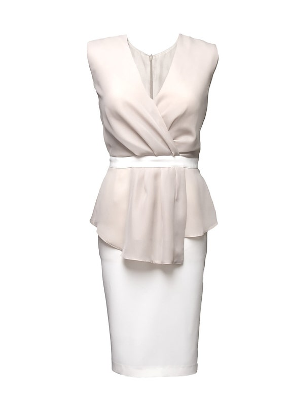 Elegant Peplum Beige Dress With Pencil Skirt And Flounces By Jersa