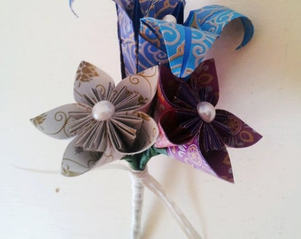 Paper Flower Origami Buttonhole Boutonniere Wedding Accessories Corsage Lily Daisy