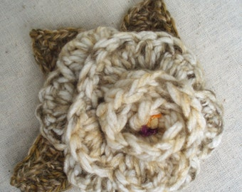 Crocheted Flower in Beige and Greens