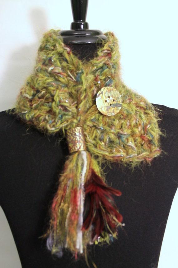 Cowl Neck Scarf, Warm Scarf, Artisan Cowl Neck, Crochet Cowl, Unique Cowl Scarf, Tasseled Scarf, Soft Green Scarf, OOAK Cowl Scarf, Neckwarm