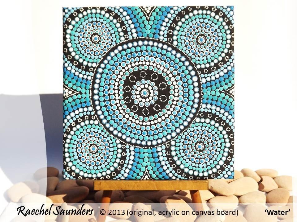 Acrylic Painting Aboriginal Dot Art Aquatic Art 20 X 20 Cm