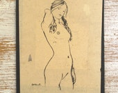 Handmade greeting card print from original nude drawing on vintage paper