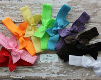 10 No Tug Elastic Hair Ties - Bright Summer Rainbow Ponytail Holders - Hairties