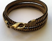 Black and Brass Zipper Wrap Bracelet