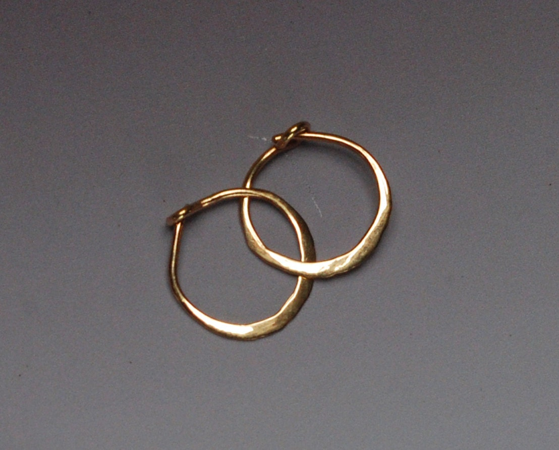 Solid Gold Hoops, Tiny 14k Gold Hoop Earings, 10 Mm Gold Hoop Earrings,