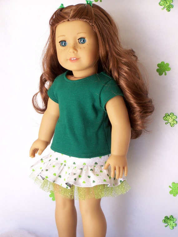 American Girl Doll Sparkly Shamrock Skirt and T-shirt