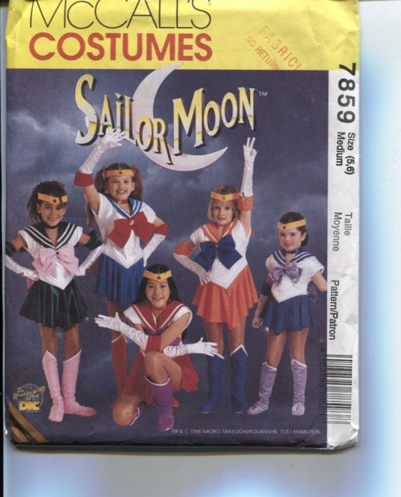 McCalls 7859,  Girl's Sailor Moon Halloween Costume Pattern, Sizes 5 and 6, Uncut