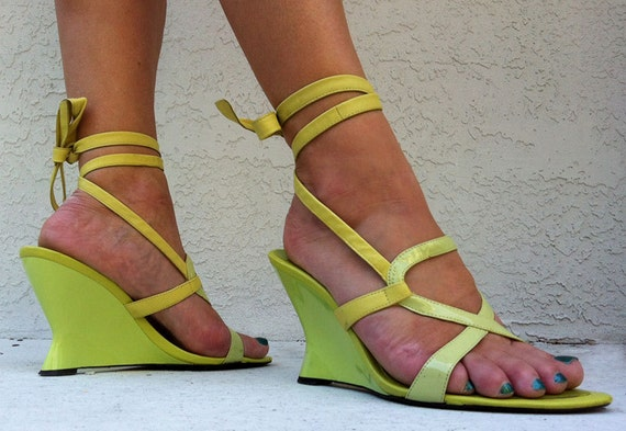CHARTREUSE ANKLE WRAP Wedge Heels - Lime Green Spring Sandals Size 8 - Vintage 9 West