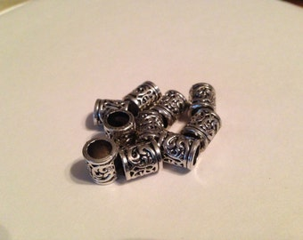 10 pack Zinc Alloy Paracord Lanyard Spacer Barrel Beads, Free Ship