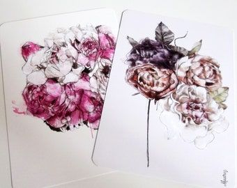 Lot de 2 cartes illustrations de bouquets