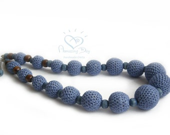 Blue Crochet LINEN NECKLACE -NATURAL Denim colour Linen. Light steel blue ball Necklace. Crochet Bead Jewelry. Blue wooden bead eco friendly