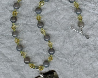 Puppy Love - Carved Succor Creek Jasper, Gray Agate, Yellow Quartz, Peridot, Sterling Silver Necklace