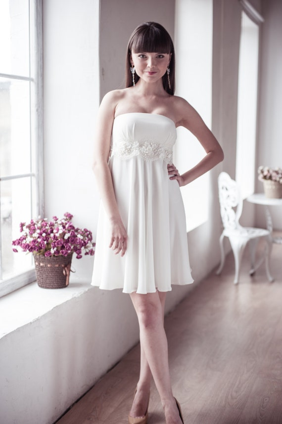 Items similar to empire silhouette short wedding dress m15 for Dresses suitable for a wedding