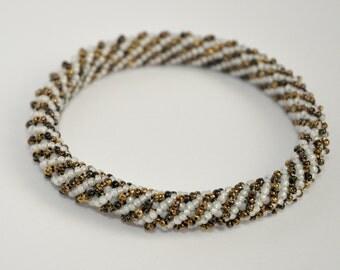 Bronze & Pearl Striped Bead Weave Bangle Bracelet, OOAK Handmade Elegant Bohemian Style Jewelry