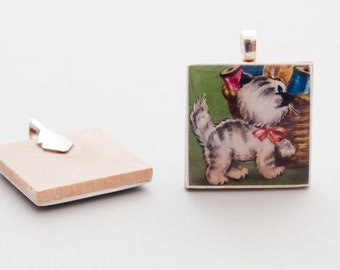 Wood Tile Pendant - Kitten With a Sewing Basket