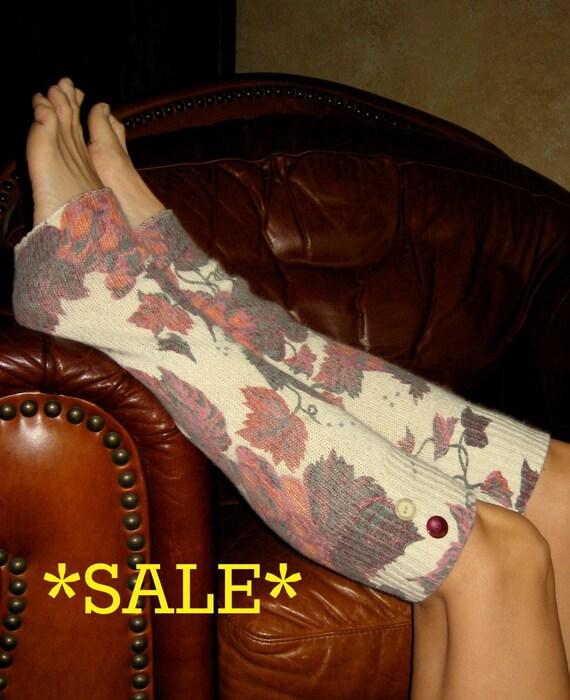 SALE' Silk / Angora / Lambs Wool Leg Warmers - Boot Socks Upcycled Sweater Boho Clothing Bohemian Upcycled Leg Warmers Cottage Chic Clothing