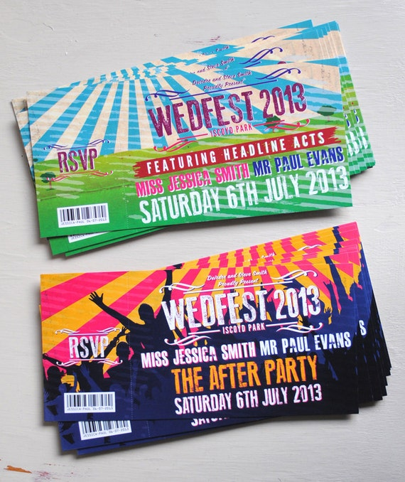 Concert Ticket Wedding Invitation samples – Invitations That Look Like Concert Tickets