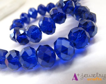 Blue, royal blue, shiny, glass, glass beads, 2 strands per order:  beading supplies, jewelry supplies, beads, blue beads, dark blue beads.