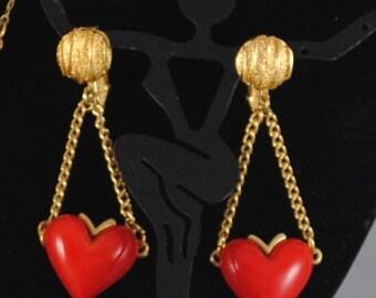 Heart Vintage Earrings Gift Vintage Red Heart Earrings