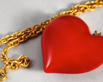 Vintage Heart Necklace Vintage Rare Beautiful Red Puffy Heart Pendant 1960s