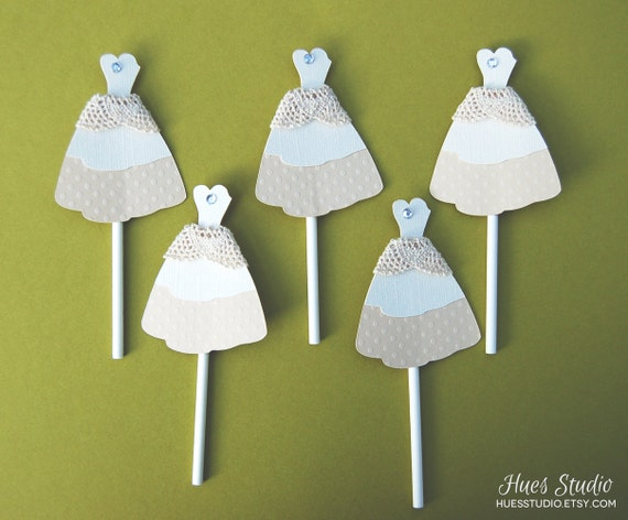 Rustic Cream Lace Wedding Dress Cupcake Toppers by HuesStudio